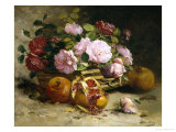 Still Life of Roses and Pomegranates Giclee Print by Eugene Henri Cauchois