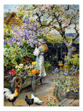 English Cottage Garden Gicl&#233;e-Druck von William Stephen Coleman