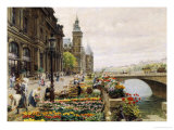 The Quai aux Fleurs and the Tour de l'Horloge Giclee Print by Marie Francois Girard