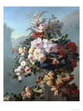 Still Life of Flowers on a Terrace Giclee Print by Pierre Bourgogne