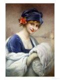 Young Girl with Fur Muff Giclee Print by Francois Kavel