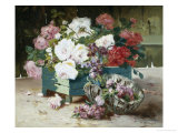 Pink and Red Roses Giclee Print by Eugene Henri Cauchois