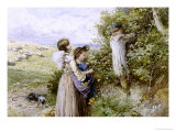 Collecting Flowers Giclee Print by Myles Birket Foster