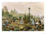 The Quai aux Fleurs and the Hotel de Ville Giclee Print by Marie Francois Girard