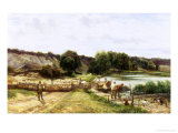 Sussex Sheep Washing Giclee Print by Charles Edward Johnson