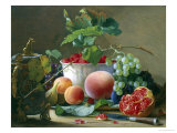 Still Life of Figs, Peaches and Rapberries Giclee Print by Carl Balsgaard
