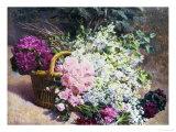 Basket of Romantic Flowers Giclée-Druck von Pierre Bourgogne