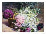 Basket of Romantic Flowers Giclee Print by Pierre Bourgogne