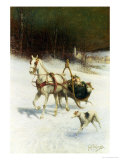 The Bridal Sleigh Giclee Print by Jan Van Chelminski