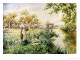 Picking Posies by the River Giclee Print by Alfred Augustus Glendenning