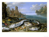 The Day's Catch on the Seashore Giclee Print by Jan van Kessel
