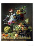 Rich Still Life of Fruit and Flowers Giclee Print by Marie-josephine Hellemans