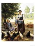 Feeding the Chickens Giclee Print by Julien Dupre