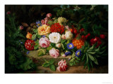 Still Life of Summer Flowers Giclee Print by Josef Lauer