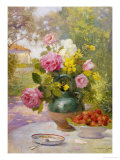 Still Life of Summer Flowers and Fruit Giclée-Druck von Marie Felix Lucas