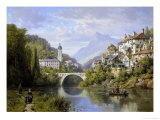 Busy Riverside Village, c.1883 Giclee Print by Charles Kuwasseg