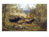 Family of Moose Giclee Print by Carl-henrik Bogh