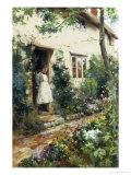 Pretty Cottage Garden Giclee Print by Alfred Augustus Glendenning
