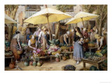 Toulon Market, France Giclee Print by Myles Birket Foster