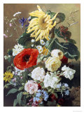 Rich Still Life with Sunflower and Roses Giclee Print by C.f. Hurten