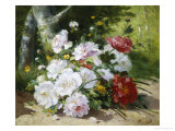 Still Life of Mixed Summer Flowers Giclée-Druck von Eugene Henri Cauchois