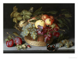 Still Life of Apples, Grapes and Nuts Lámina giclée por Johannes Bosschaert