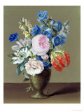 Still Life of Gentian and Passion Flower Giclee Print by Samuel Arnold