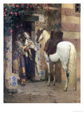 Lovers Embracing in a Doorway Giclee Print by Rudolph Ernst