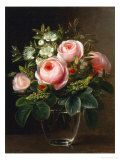 Roses and Tree Anemone in a Glass Vase Giclee Print by Johan Laurentz Jensen