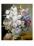 Still Life of Flowers on a Marble Ledge Giclee Print by Cyane Boisbaudran