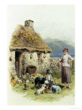 Feeding Time at a Highland Cottage Giclee Print by Myles Birket Foster