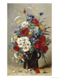 Still Life of Poppies, Daisies and Cornflowers Giclee Print by Eugene Henri Cauchois