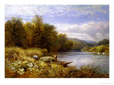 Gathering Rushes on the Thames near Wargrave Giclee Print by Alfred Augustus Glendenning