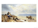 On the Beach at Rottingdean Giclee Print by Myles Birket Foster