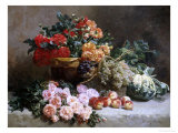 Rich Still Life of Fruit and Flowers Giclee Print by Pierre Bourgogne