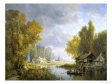 River Scene in France Giclee Print by Charles Kuwasseg