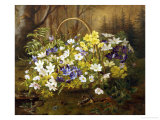 Anemones and Primroses in a Basket Giclee Print by Anthonore Christensen
