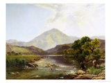 Moel Hebog from the Stepping Stone Giclee Print by Henry John Boddington