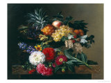 Dahlias, Lupin and Coreopsis in a Greek Kylix Giclee Print by Johan Laurentz Jensen