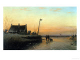Winter&#39;s Day, Sunset Giclee Print by Lodewijk Kleyn