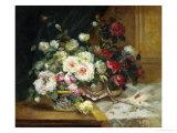 Pot de roses Reproduction procédé giclée par Eugene Henri Cauchois