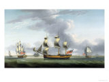 British Merchantman in Three Positions Giclee Print by Robert Dodd