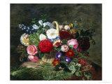 Basket of Roses, Dahlias and Morning Glory with Honeysuckle Reproduction procédé giclée par Johan Laurentz Jensen
