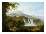 View of the Villa of Marcenas and Falls of Anio Giclee Print by Julius Caesar Ibbetson