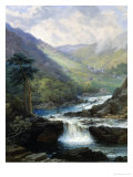 Romantic Landscape with Waterfall Stampa giclée di George Beetholme