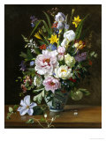 Still Life with Clematis, Honeysuckle and Peonies Giclée-Druck von Augusta Dohlmann