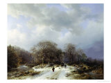 Cart on a Snowy Track Giclee Print by Barend Cornelis Koekkoek