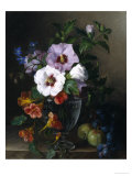 Still Life of Hibiscus and Nasturtium in a Glass Vase Giclee Print by Julie Guyot