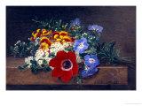 Anemone, White Spirea, Calceolaria and Blue Geranium Giclee Print by Johan Laurentz Jensen