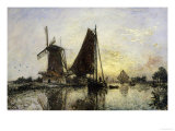 In Holland, Ships Near a Mill, c.1868 Giclee Print by Johan-Barthold Jongkind